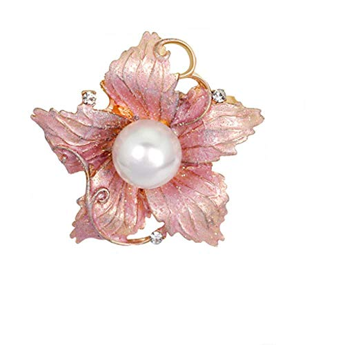 - Fashion Enamel Bauhinia Flower Brooch Elegant Crystal Shell Pearl Brooches Pin Gold Tone Jewelry Gift for Women's Clothing Scarf Decoration(Bauhinia Brooch)