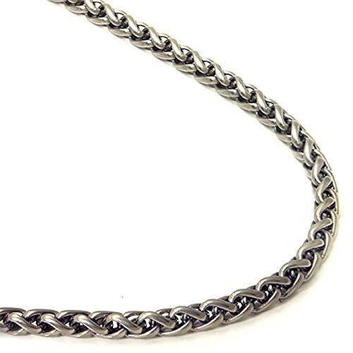 Titanium 4MM Wheat Chain Link Necklace 24