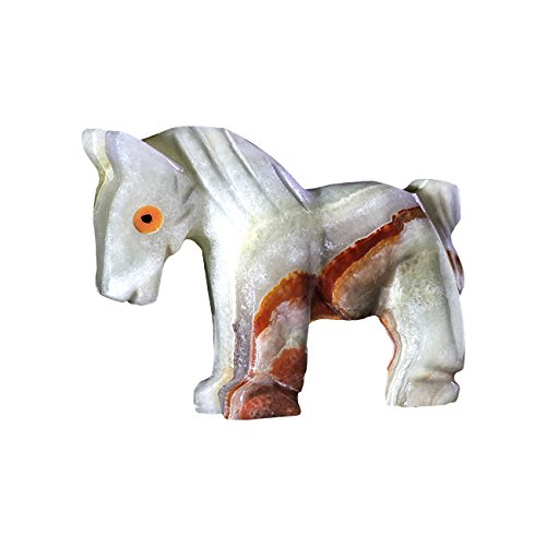 Natures Artifacts Hand Carved Multi Green Onyx Horse Figurine (Pack of (Onyx Horse)