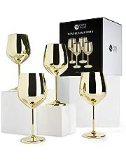 Ek & stål - 4 eleganta vinglas i guld i rostfritt stål, 540 ml