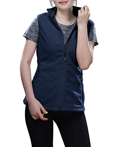 Outdoor Ventures Women's Zip Up Sleeveless Jacket Thick Soft Warm Fall Fleece Vest with 4 Large Pockets Navy