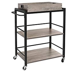 Kitchen VASAGLE Bar Cart, Kitchen Serving Cart, 3-Tier Kitchen Utility Cart on Wheels with Storage, Universal Casters with… modern kitchen islands and carts