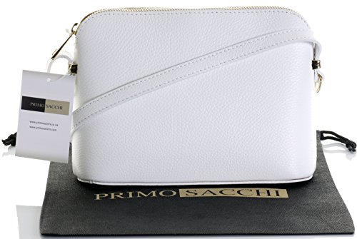 (Italian Textured White Leather Hand Made Small Triangular Adjustable Strap Shoulder or Crossbody Bag. Includes a Branded Protective Storage Bag)