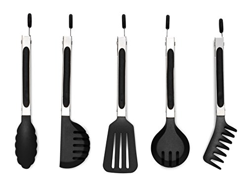 5 Mini Stainless Steel Tongs Set- Multipurpose, Use Daily to Prep, Toss, Serve. Lifetime (Black) (Elephant Spatula compare prices)