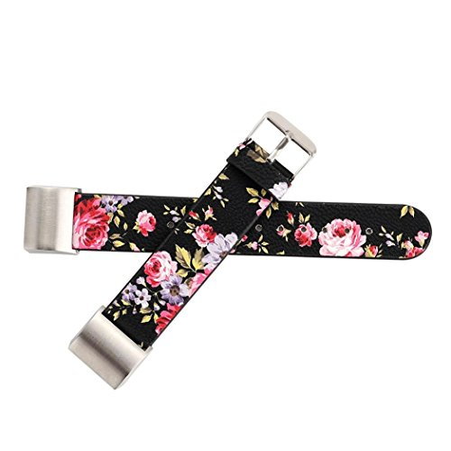 Zikong Pattern Leather Strap Replacement Watch Band For For Fitbit Charge 2