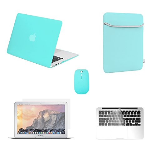 Tpu Sleeve - TOP CASE - Rubberized Robin Egg Blue Hard Case+Sleeve+Mouse+TPU Keyboard Cover+Screen Protector Compatible with MacBook Air 13