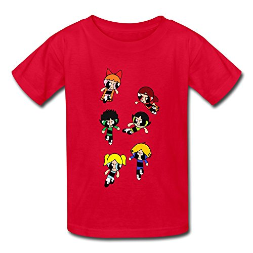 O Neck Powerpuff Rowdyruff Causal Kids Boys And Girls T-Shirt Red Size L (Rowdyruff Boys)