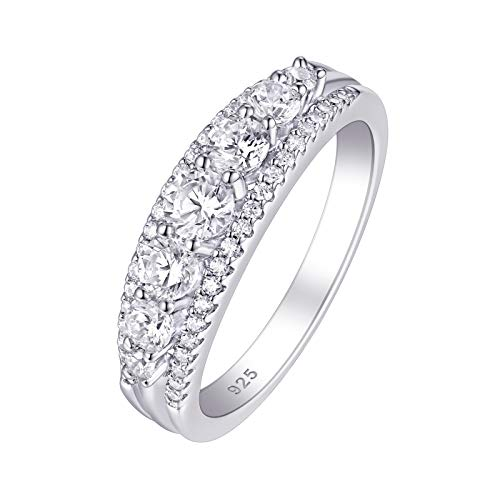 SHELOVES Sterling Silver Eternity Bands for Women Simulated Diamond Cubic Zirconia Wedding Rings 5