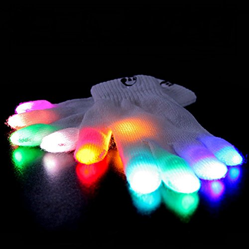 EmazingLights Elite Chroma CTRL Light Up Glove Set - Flashing Finger Light LED Gloves for Raves & Light Shows Featured on Shark -