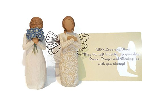 Willow Tree Remembrance Angel Figurine Bundle With Willow Tree Forget Me Not Statue. An Ideal Sympathy-Condolence Gifts For Loss Of Mother/Father/Loved One
