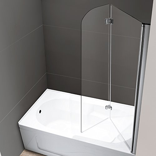 Mellewell Fold 36 in. Width, Frameless Hinged Tub Shower Door Swing ...