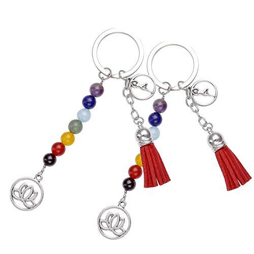 JOVIVI Chakras Gemstone Keychain Jewelry