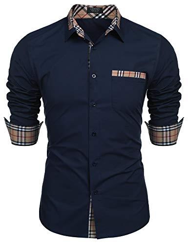 COOFANDY Men's Casual Long Sleeve Shirt Regular Fit Button Down Plaid Collar Cotton Shirt Blue