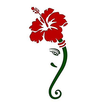 Happy Walls Lord Ganesh In Red Hibiscus Flower Modern Art 60 Cm X 30 Cm Wall Stickers Decals 64050