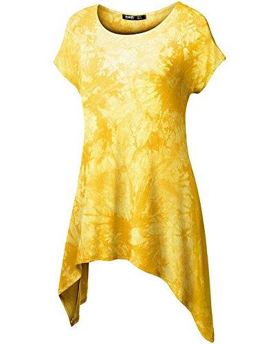 Moollyfox Mujeres Ocasionales Impreso Dobladillo Irregular La Camiseta Amarillo