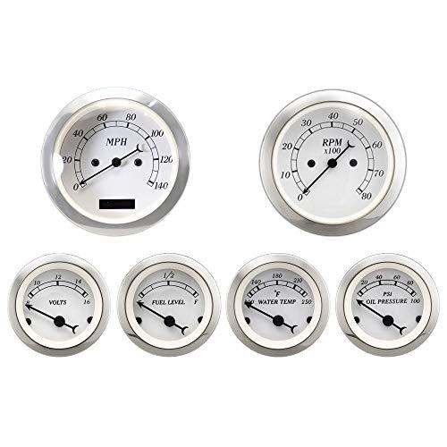 (MOTOR METER RACING 6 Gauge Set Classic Instruments Electronic Speedometer Digital Odometer White Dial)