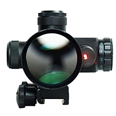 Qinuke 2.5-10x40 Tactical Rifle Scope Mil-dot Dual illuminated w/ Red Laser & Mount