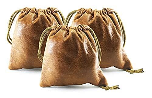 3 Pack Chalk Factory Lambskin Leather Drawstrings Pouch: Tan,11.5 cm X 11.5 cm
