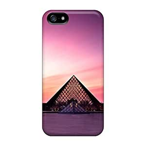 New Style Case Cover ZBoTFub5505GAZps Sunset Louvre Museum Compatible With Iphone 5/5s Protection Case