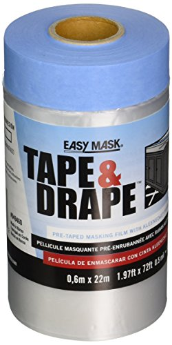 Easy Mask 949460 .6m X 22m Plastic Pre Taped Drop Cloth (Tape Mask Pre)
