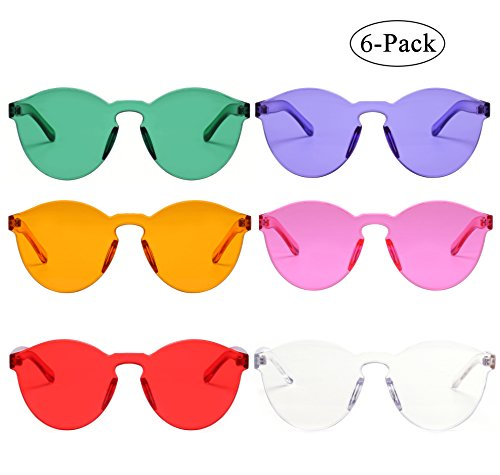 One Piece Rimless Sunglasses Transparent Candy Color Eyewear - 6 Pack Sunglasses
