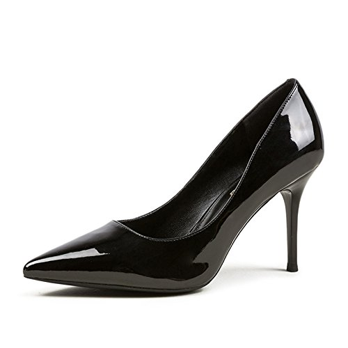 Travail Élégant en Cuir Nightclub Talons Tribunal Hauts Mode UK des Couleur Black Mariage Sexy Verni EU Nude Femme 34 Chaussures Femmes De 2 9cm Chaussures Parti IxZT0wE