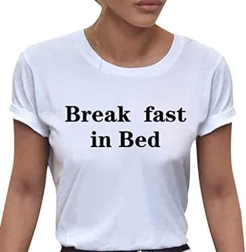 2d0ad1f4dc7ce2 Women's Casual Crew Neck Break Fast in Bed Slogan Print Short Sleeve Top Blouse  T Shirt