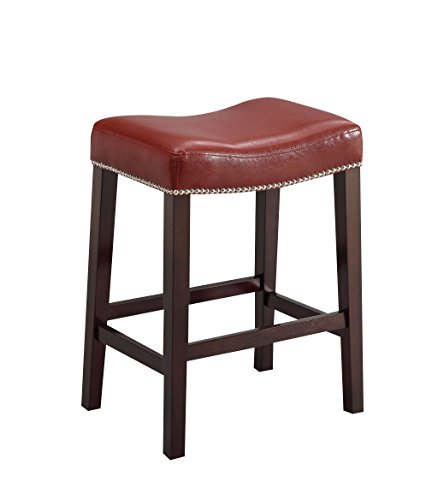 Acme Furniture Lewis Counter Stool, Set Of 2 In Red, Pu And