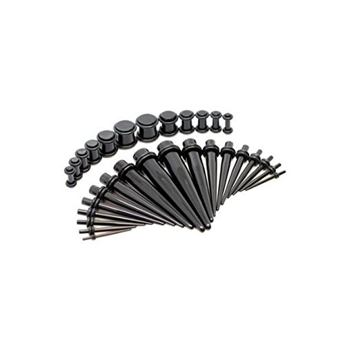 Coolrunner Taper Kit with Plugs Black Taper Stretching Kit 14G-20G with Black Acrylic Plug Kit (30PCS) ()