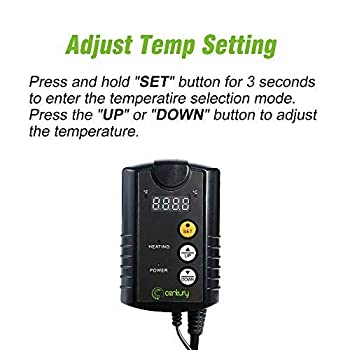 Century Digital Heat Mat Thermostat Controller for Seed Germination, Reptiles and Brewing, 40-108°F
