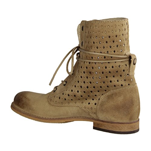 Shoot SH14141- Damenschuhe modische Stiefelette, Beige,  veloursleder, absatzhöhe :   10 mm