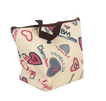 Borsa porta pranzo impermeabile Borsetta bella borsa in tessuto poliestere stampa Pranzo al sacco Pranzo picnic sacchetto cerise EQLEF/® thermal insulation tote bag lunch bag