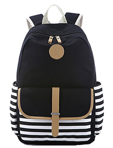 Black Stripe Data Schoolbags Backpack Bag Canvas Womens Youth Grand Fashion Casual Type Capacity Backpacks Travel Backpacks