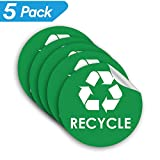 Recycle Sticker Trash Bin Label - 4' x 4' - 5 PACK Organize Garbage Waste from Recycling - Great for Metal Aluminum Steel or Plastic Trash Cans - Indoor & Outdoor - Use at Home Kitchen & Office