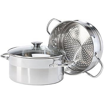 Oggi 5634 3 Piece Stainless Steel Pro Vegetable Steamer Set, 5 Quart, Silver