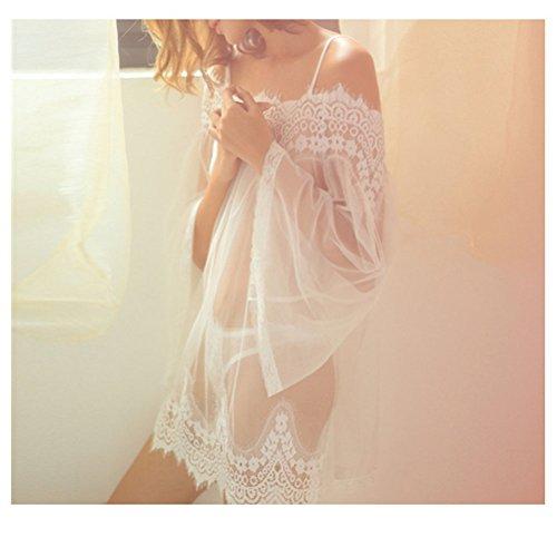 Tinksky Sexy Frauen Nachtwäsche/ Spitze Nachtkleid Reizwäsche Größe 2XL (Weiß)