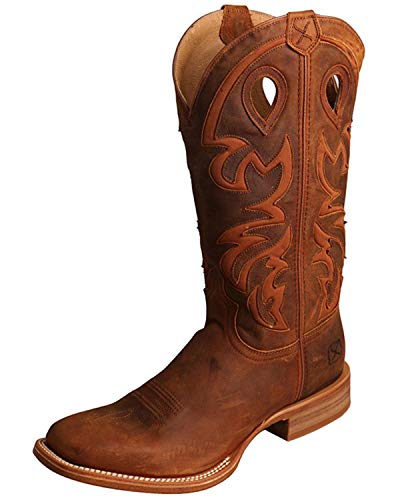 Ruff Stock - Twisted X Men's Ruff Stock Western Boot Wide Square Toe Brown 9 EE