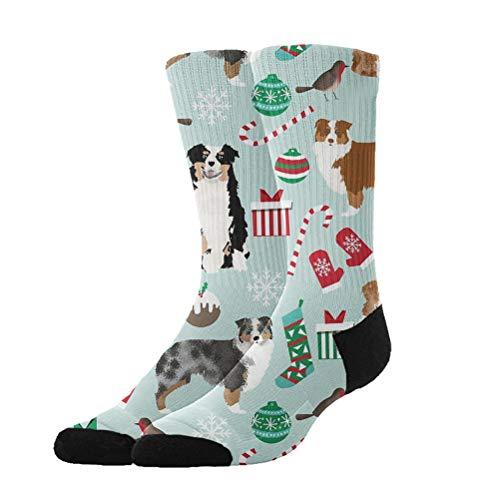 KYWYN Australian Shepherd Christmas - Funny Colorful Pattern Dress Crew Socks,Athletic Cotton Socks for Men -