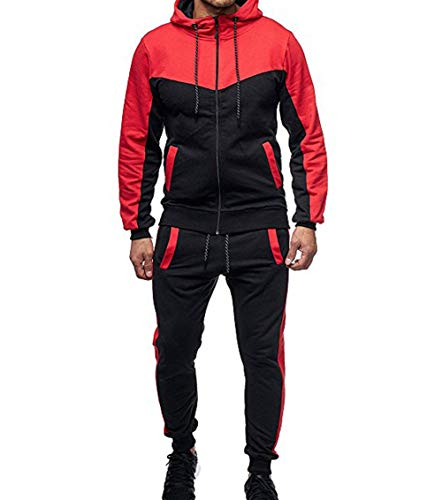 Men's Tracksuit Set Camouflage Sweatshirt Jogger Sweatpants Warm Sports Suit (Red, XXL)