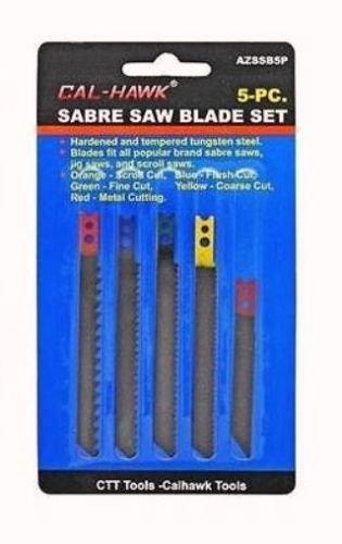 (5 PC Sabre Jig Scroll Saw Blade Set - Scroll, Flush, Fine, Coarse, Metal)