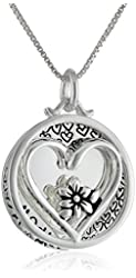 "Sterling Silver ""Mother Daughter Friends Forever"" Reversible Two-Piece Heart and Flower Necklace, 18"""