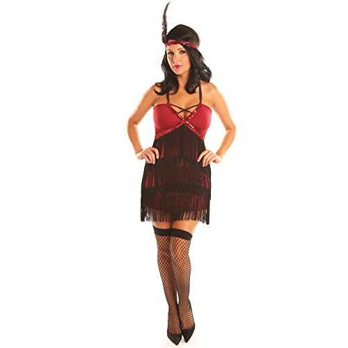Cute Mad Hatter Costume For Girls (Disiao Women Fringe Flapper Dance Dress Costume Short Skirt Halloween Christmas Dress Up)