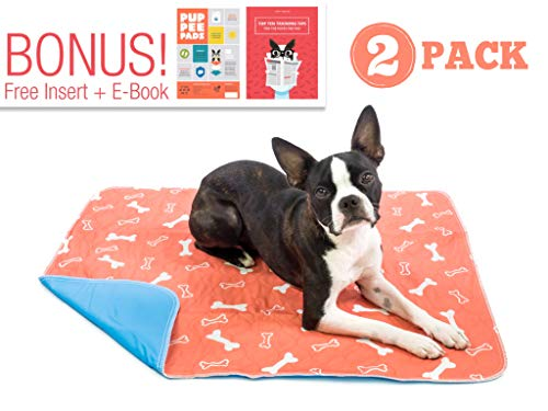Washable & Reusable Pee Pads for Dogs - Puppy Training - (2-Pack) XLarge - For Housebreaking, Incontinence, Odor Control, Whelping & Travel - Fast Absorbing & ()