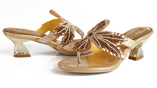 Crc Vrouwen Unieke Mus Sparkle Rhinestone Microfiber Materiaal Prom Wedding Party Flip-flop Sandalen Slippers Goud