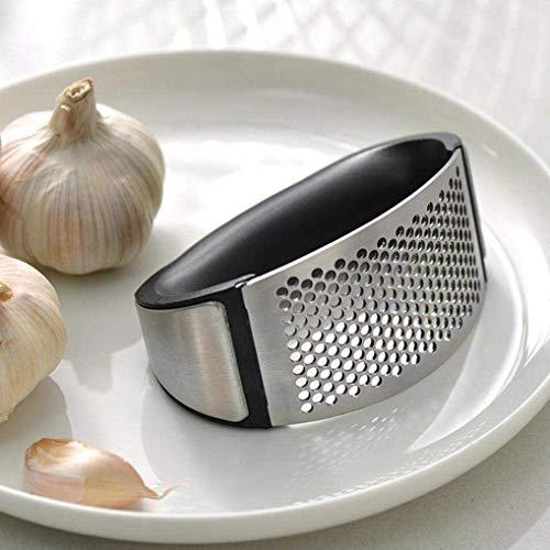 Bhaguji Stainless Steel Garlic Press Rocker Garlic Crusher Squeezer Slicer Mincer Chopper Kitchen Gadget with Handle.