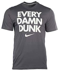 Nike Men's Dri-Fit Every Damn Dunk T-Shirt-Gray-Medium