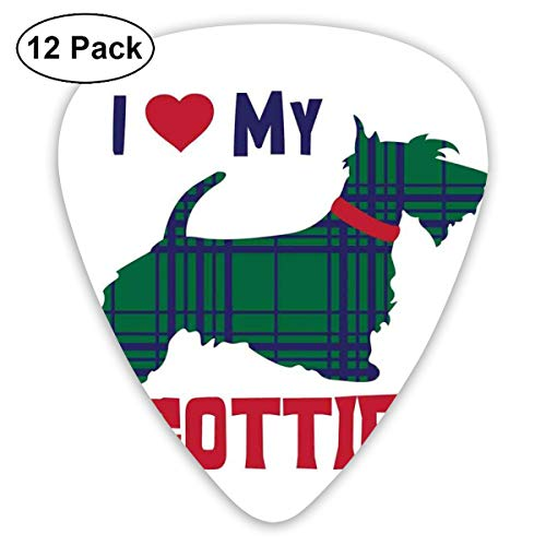 - Celluloid Guitar Picks - 12 Pack,Abstract Art Colorful Designs,I Heart My Scottie Message Tartan Pattern Built In Dog Silhouette,For Bass Electric & Acoustic Guitars.