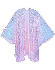 The LUMi Shop Disco Chic Color Changing Sequin Kimono, Shimmering Festival Fashion Shawl for Rave, Club, Beach & Swimwear