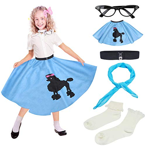 (Beelittle 50s Girls Costume Accessories Set - Vintage Felt Poodle Skirt, Chiffon Scarf, Cat Eye Glasses, Bobby Socks)