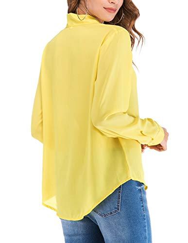 Longue Jaune lgant Classique Casual V Tee Tunique Chemise Longue Soie Fluide Manche Femme Hauts Cov de Chemisier Taille Chic Blouse T Tops Grande Mousseline Shirts qO6xzSHtw